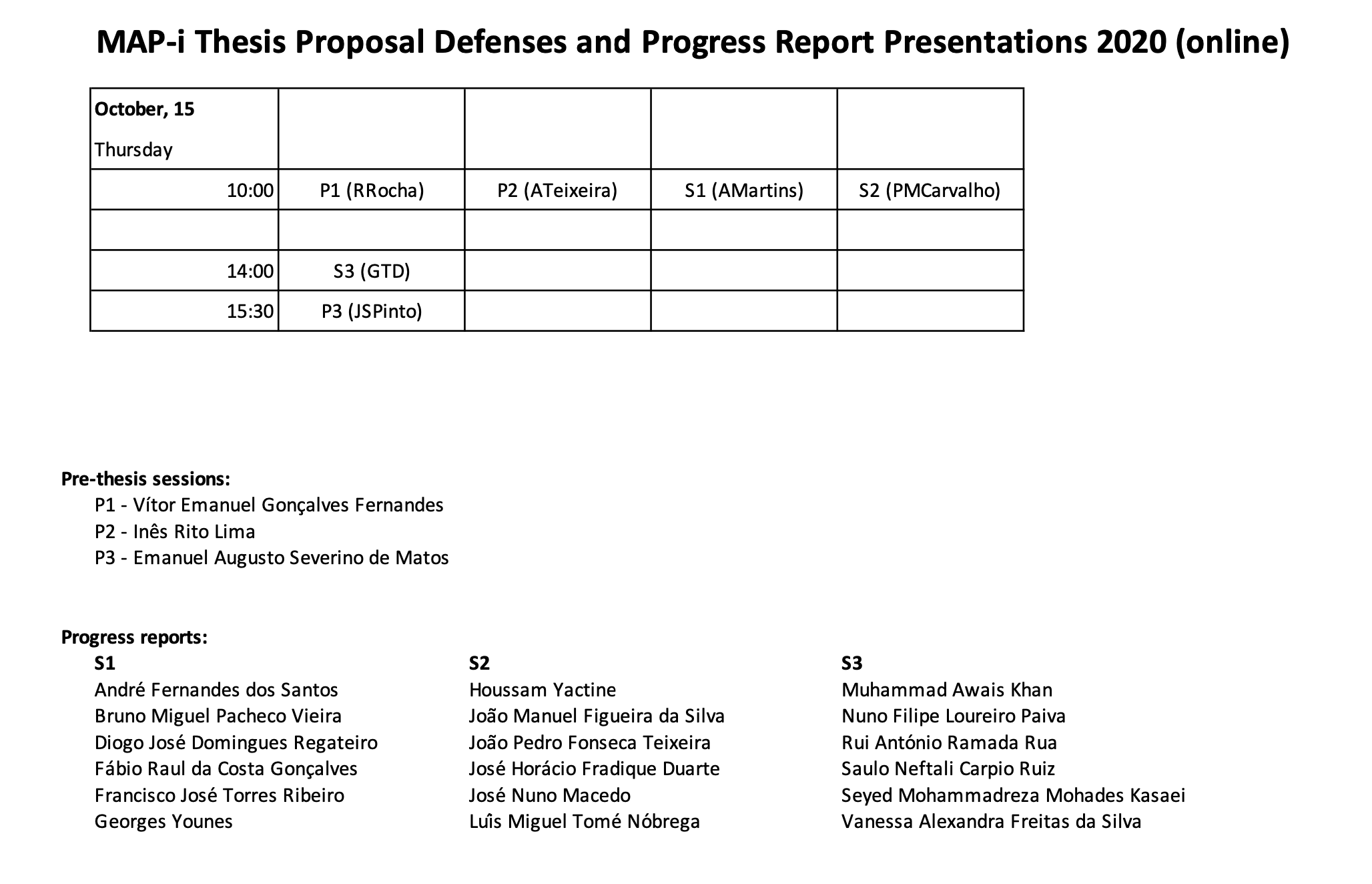 Thesis Proposal Defenses and Progress Report Presentations 2020 (online)